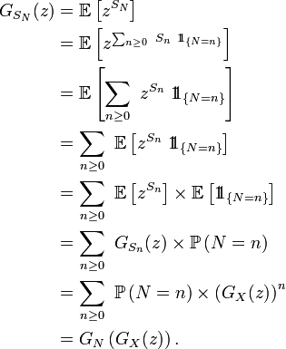 \begin{align} G_{S_N}(z) &= \mathbb{E}\left[zˆ{S_N}\right]\\ &= \mathbb{E}\left[zˆ{\sum_{n\ge 0}\ S_n\ 1\!\!1_{\{N= n\}}}\right]\\ &= \mathbb{E}\left[\sum_{n\ge 0}\ zˆ{S_n}\ 1\!\!1_{\{N= n\}}\right]\\ &= \sum_{n\ge 0}\ \mathbb{E}\left[zˆ{S_n}\ 1\!\!1_{\{N= n\}}\right]\\ &= \sum_{n\ge 0}\ \mathbb{E}\left[zˆ{S_n}\right]\times\mathbb{E}\left[1\!\!1_{\{N= n\}}\right]\\ &= \sum_{n\ge 0}\ G_{S_n}(z)\times\mathbb{P}\left(N= n\right)\\ &= \sum_{n\ge 0}\ \mathbb{P}\left(N= n\right)\times \left(G_{X}(z)\right)ˆn\\ &= G_N\left(G_X(z)\right). \end{align}